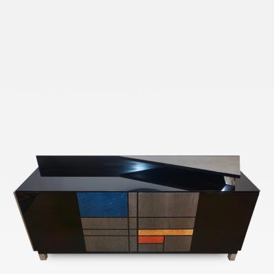 1976 Italian Black Lacquer Silver Grey Blue Mondrian Decor Bar Sideboard Cabinet