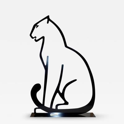 1980 Italian Minimalist Design Black Lacquered Iron Panther Silhouette Sculpture