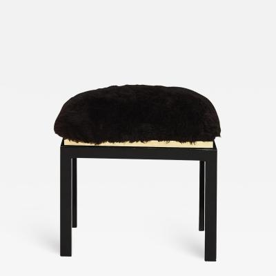 1980 s Black Brass Fur Stool