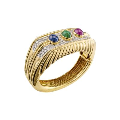 1980s Bangle Diamonds Emerald Ruby Sapphire Gold
