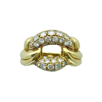 1980s Diamond and Yellow Gold Ring