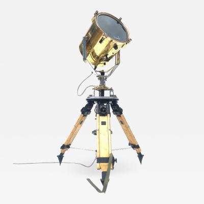 1980s Francis British Brass Searchlight Tripod Lamp