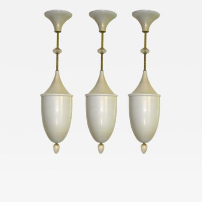 1980s Gold and Pearl Ivory Murano Glass Pendant Chandelier Lantern