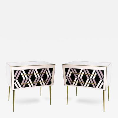 1980s Italian Pair of Modern Ivory Black and Light Purple Abstract Chests