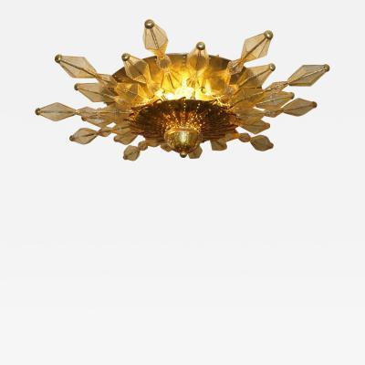 1980s Italian Unique Gold Brass and Amber Murano Glass Sunburst Chandelier