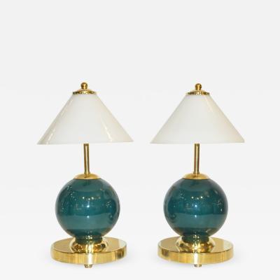 1980s Italian Vintage White Jade Green Murano Glass Brass Desk Table Lamps