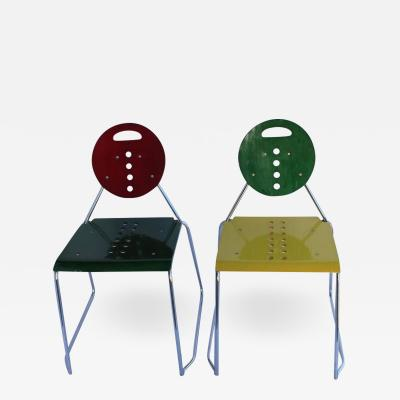 1980s Memphis Style Italian Charlie Chairs by Bimbi Gioacchini Design