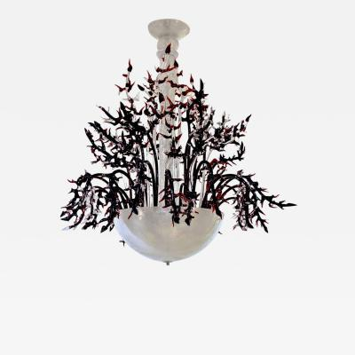1980s Modern Italian White Murano Glass Chandelier with Organic Coral like Decor