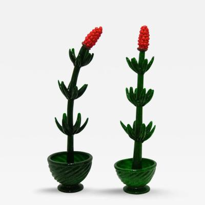 1980s Pair of Murano Glass Plants with Red Flower