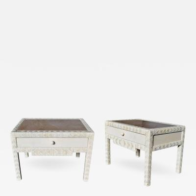 1980s Pair of One Drawer Bedside Tables with Crema Marble Tops