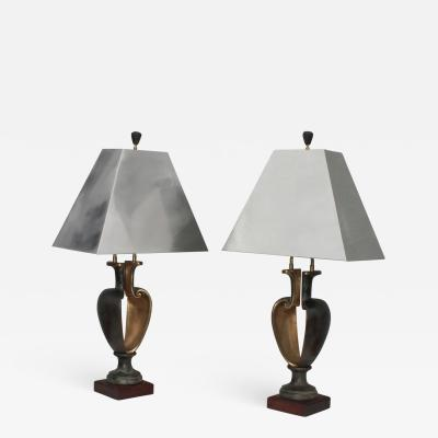 1980s Signed Bronze Brutalist Table Lamps