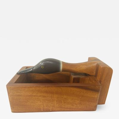 1980s Vintage Hand Carved Wooden Nut Cracker Bird Box