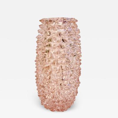 1980s Vivarini Italian Large Vintage Pink Rostrato Spike Murano Glass Ovoid Vase