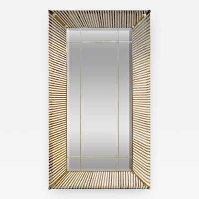 1990 Italian Geometric White Brown Bamboo Wood Floor Mirror with Brass Accents