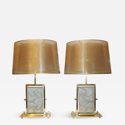 1990s Modern Italian Pair of One of a Kind Crystal Brass Lamps