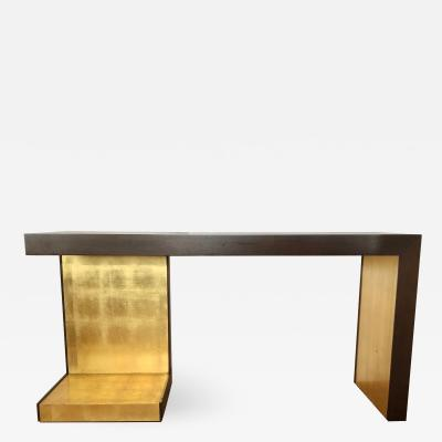 1990s Modern Wood and Gold Leaf Console Table
