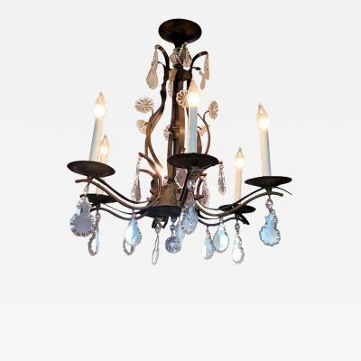19C French Iron and Crystal Chandelier