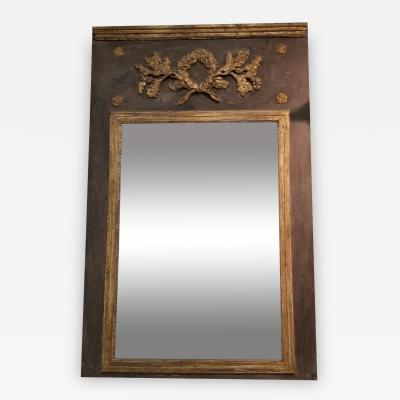 19TH C LOUIS XVI TRUMEAU MIRROR WITH ORIGINAL GLASS BACK
