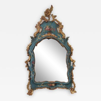 19TH C VENETIAN PAINTED GILT WOOD MIRROR