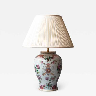 19TH CENTURY SAMSON VASE CONVERTED TO A TABLE LAMP