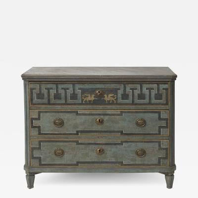 19TH CENTURY SWEDISH GUSTAVIAN STYLE CHEST OF DRAWERS IN BLUE SHADES