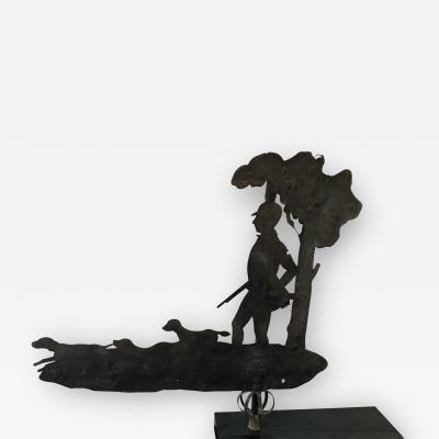 19TH CENTURY WEATHERVANE OF HUNTER AND HOUNDS