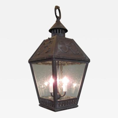 19th C American Bronze Gas Lantern with Seed Glass