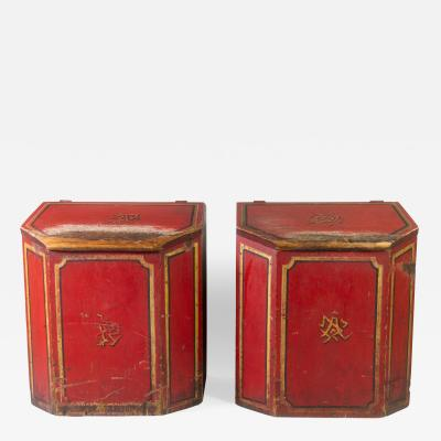19th C Chinese Paint Decorated Wood Tea Bins