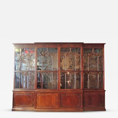 19th C English Chippendale Style Mahogany Breakfront Bookcase