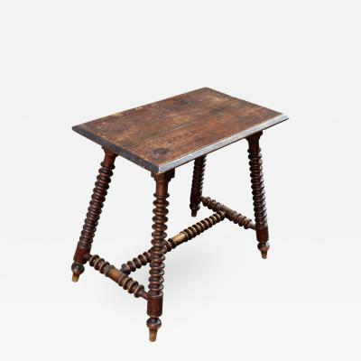 19th C English Pine Bobbin Turned Occasional Table