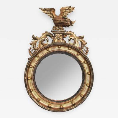 19th C English Regency Giltwood Convex Mirror with Eagle and Acanthus
