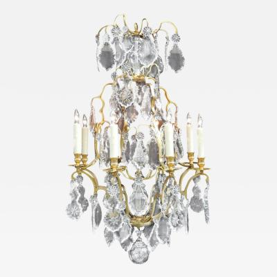 19th C French Baccarat Quality Crystal and Bronze Chandelier