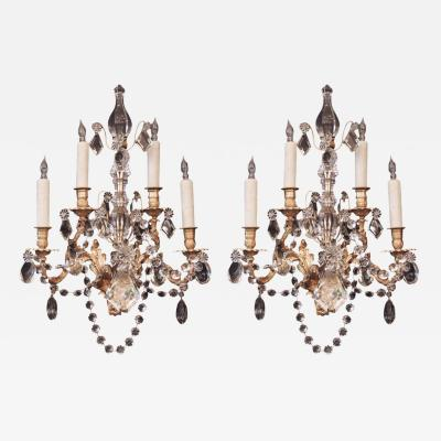 19th C French Bronze Dor and Crystal Louis XIV Style Sconces