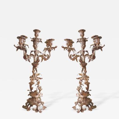 19th C French Lois XIV Bronze Dor Candelabras