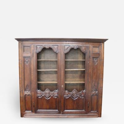 19th C French Louis XV Biblioth que Style Walnut Bookcase With Chiken Wire Doors