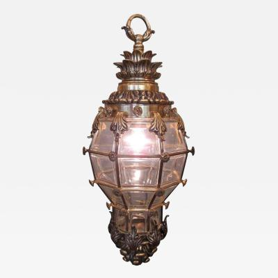 19th C French R gence Bronze and Glass Lantern