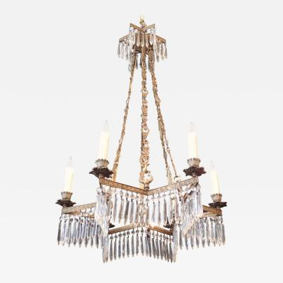 19th C French R gence Crystal and Bronze Chandelier