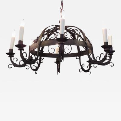 19th C French Wrought Iron Chandelier