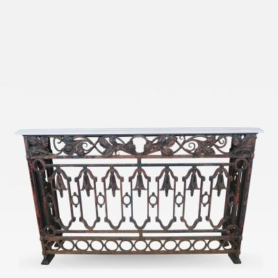19th C French Wrought Iron Console w Carrera Marble Top