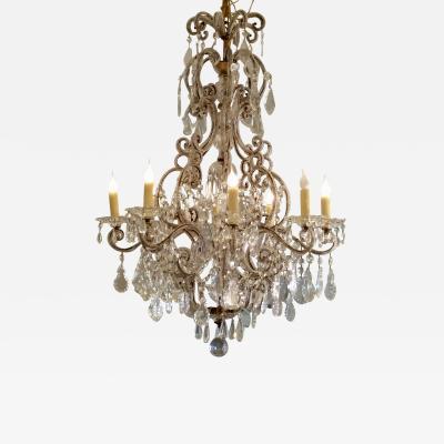 19th C Genoese Rococo Crystal Chandelier