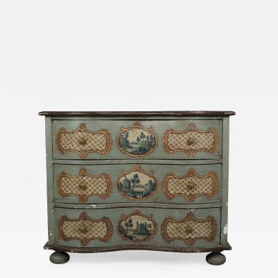 19th C German Serpentine Painted Chest