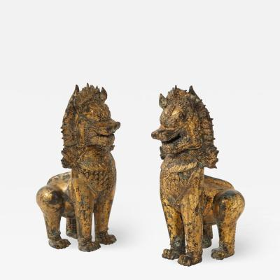 19th C Gilt Bronze Foo Dogs