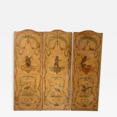 19th C Italian Hand Painted Folding Screen with Musical Monkeys