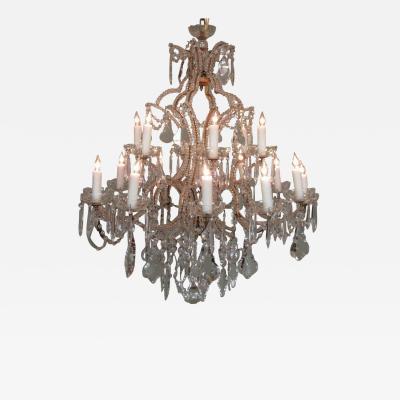 19th C Italian Piedmont Orientalism Crystal and Gilt Tole Chandelier