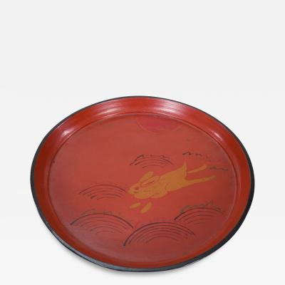 19th C Japanese Red Lacquer Tray with Rabbit Running Over Waves Under Full Moon