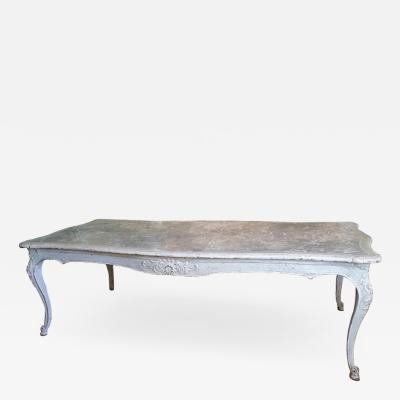 19th C Louis XV Painted Dining Table with faux marble top