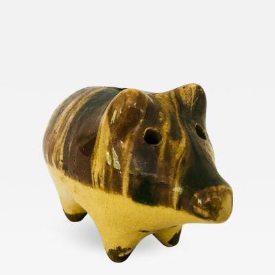 19th C Mocha Yello Ware Ceramic Folk Art Pig Bank