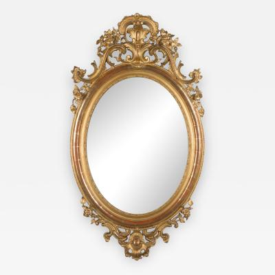 19th C Napoleon III Gilded Oval Mirror