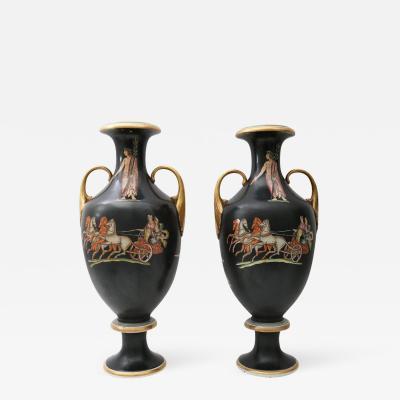 19th C Neoclassical Grand Tour Pair of Porcelain Vases