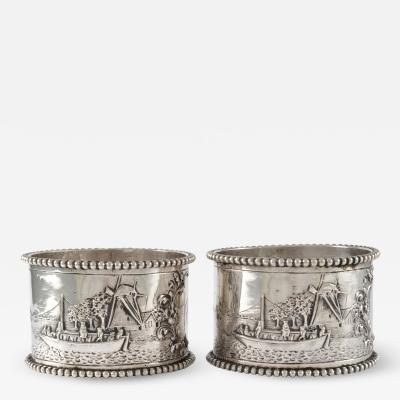 19th C Pair of Napkin Rings Dutch Sterling Silver Repousse